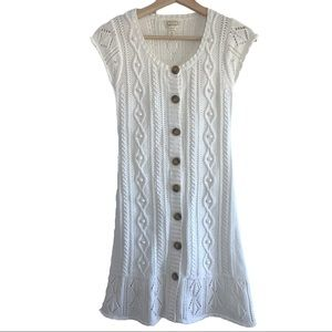 ANTHRO Kaisley Knit Button Down Cream Dress